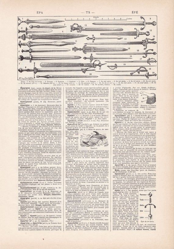 Vintage Original French Different Types of Sword  Lithograph from LAROUSSE Nouveau Larousse illustré