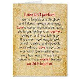 Anniversary Card Love Isn't Perfect | Zazzle.com