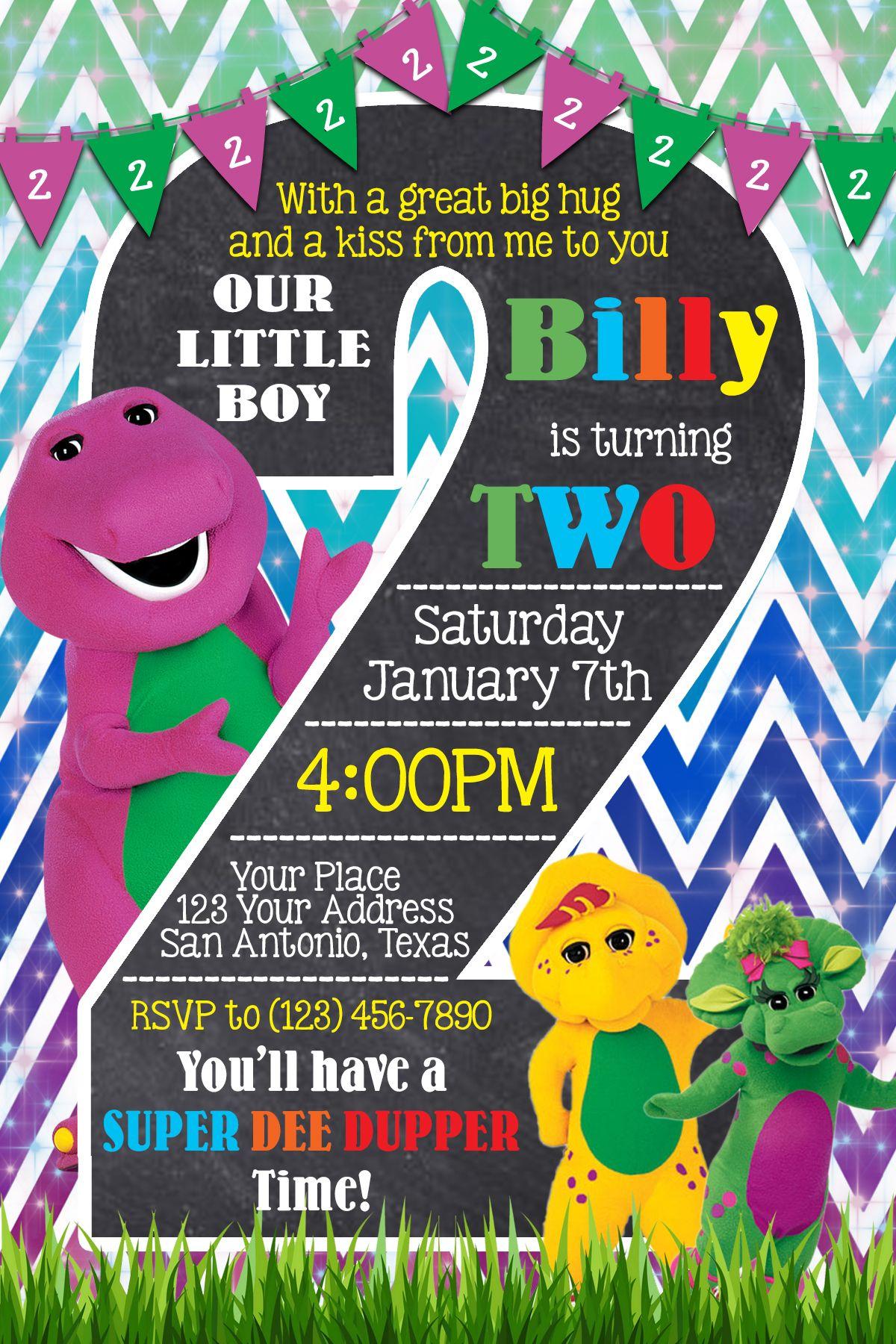 Barney 2nd Birthday Invitation | barney | Pinterest | Birthdays ...