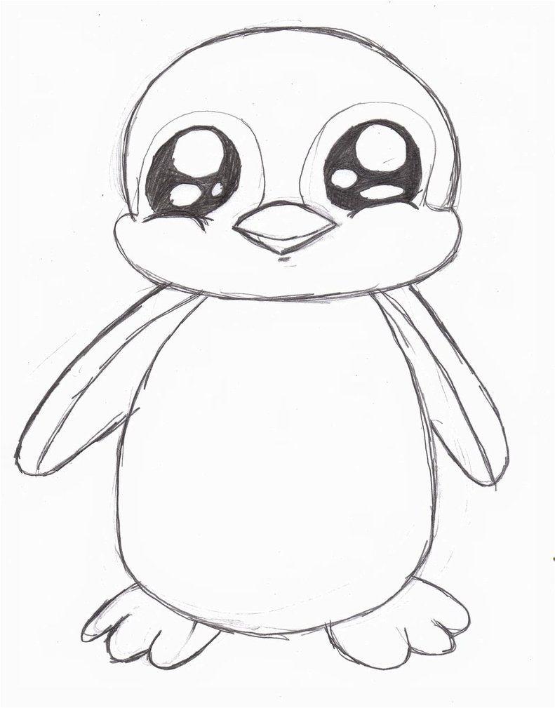 Penguin Drawing Easy Cute : penguin, drawing, Penguin, Drawing, Simple, Drawing,, Animal, Drawings,, Drawings