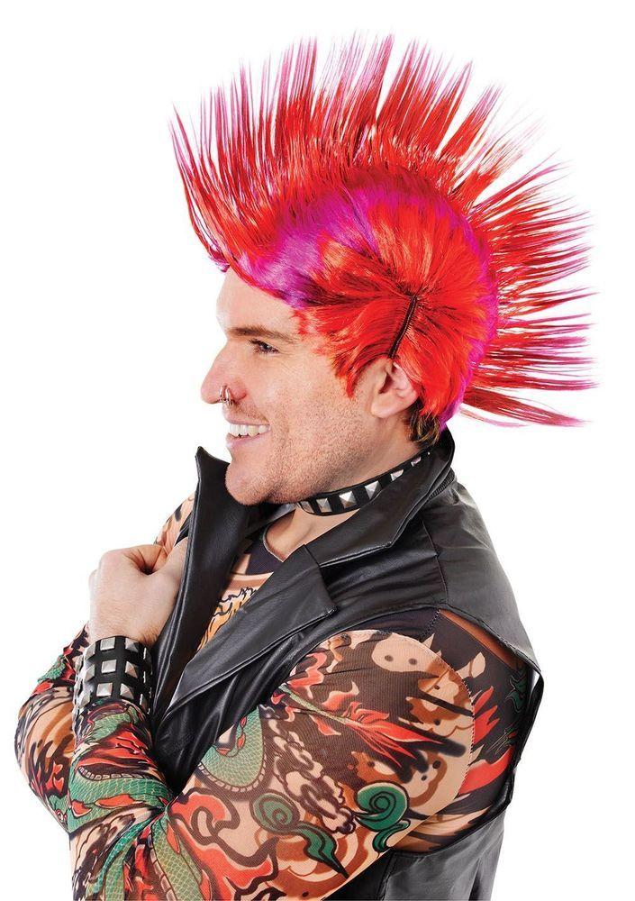 Punk Mohawk Mask Cosplay Costume Spiked Hair Rocker Metal