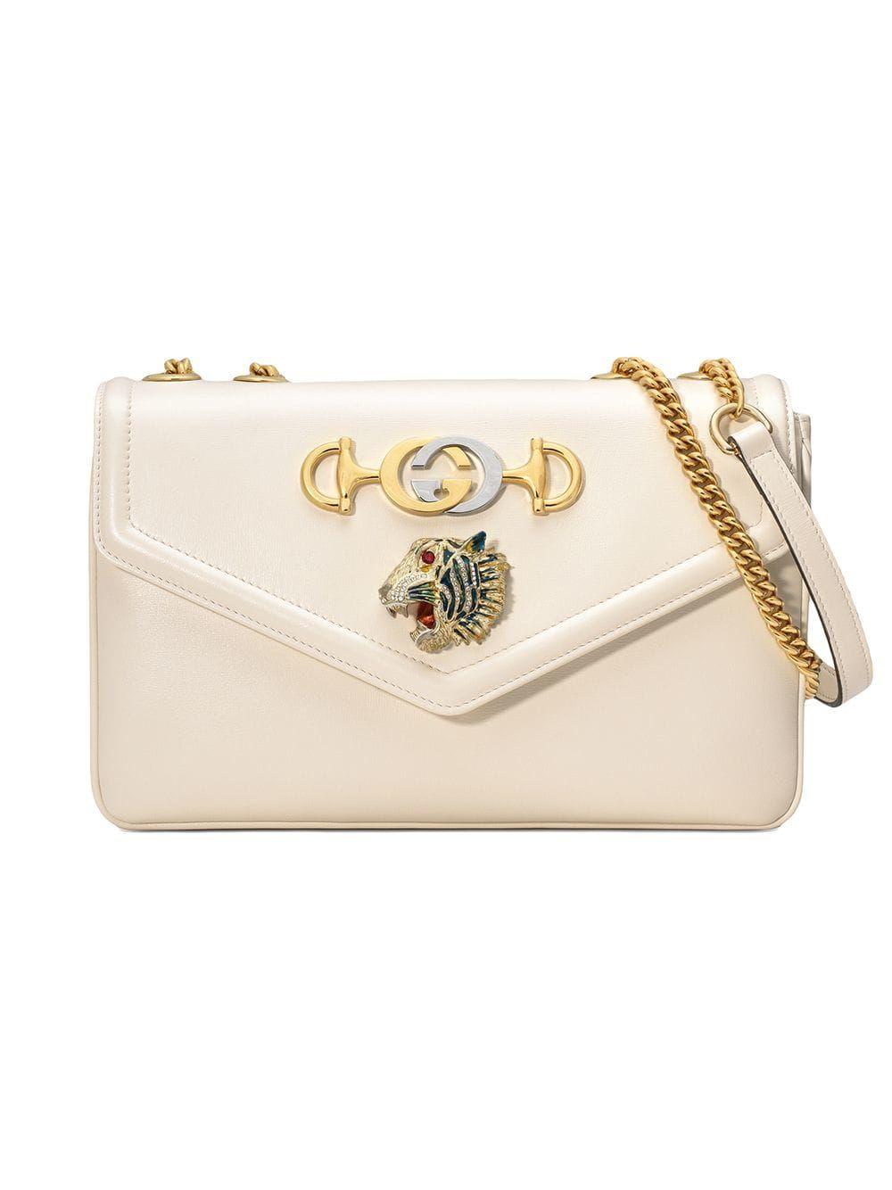 6e39a41d0 GUCCI MEDIUM RAJAH LEATHER SHOULDER BAG - WHITE. #gucci #bags #shoulder bags  #leather #lining #crystal