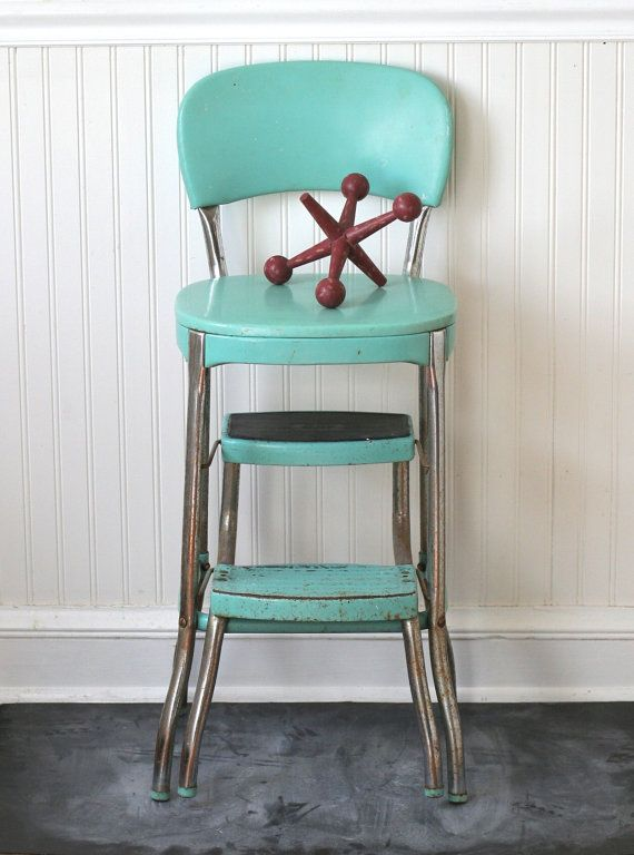 Circa 1950s Cosco Fold Out Step Stool Chair Aqua Turquoise Seafoam Kitchen Step Stool Vintage Metal Chairs Vintage Kitchen