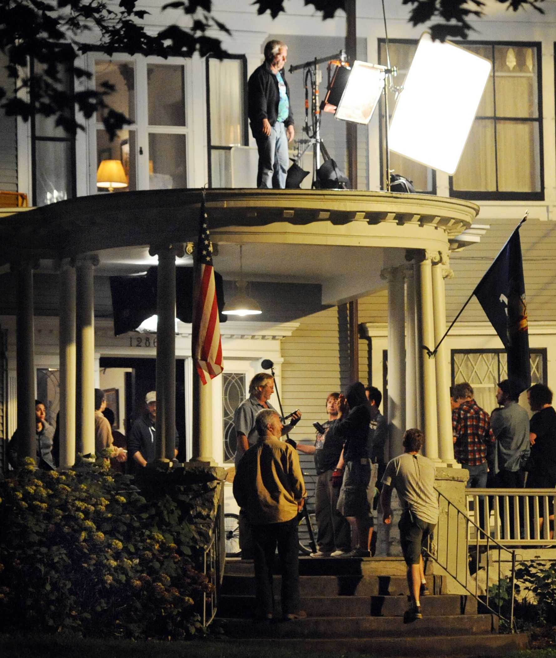 Film crews set up a shot at 1286 Wendell Avenue in Schenectady on the final day of filming for the movie 'The Place Beyond the Pines' early Sunday, September 25, 2011.