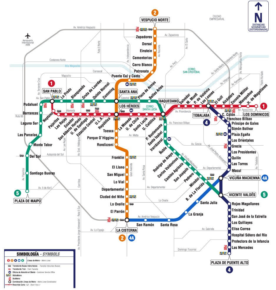 Spanish Metro Map.Santiago Chile Only Caught It Twice My Lack Of Spanish Made It