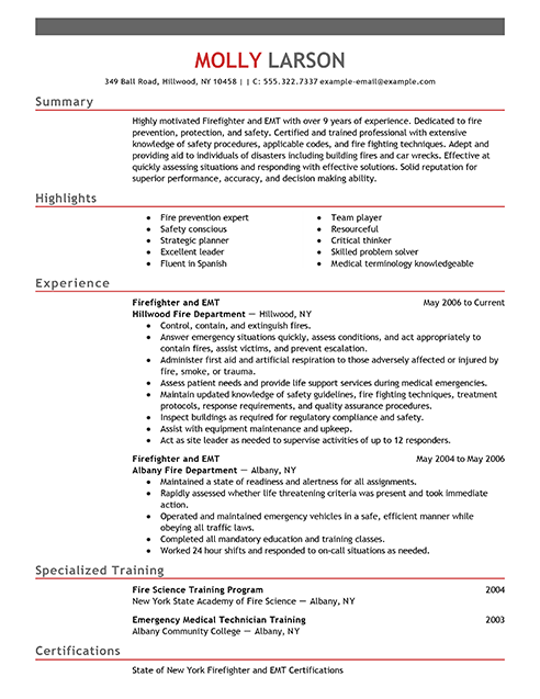 Firefighter Resume Examples | Emergency Services Sample Resumes ...