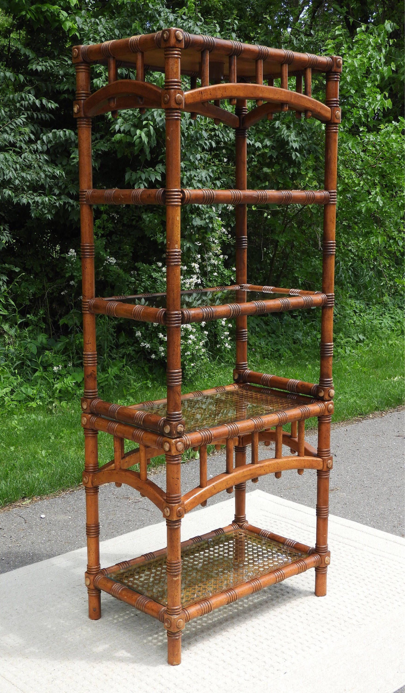 Vintage Furniture Glass Living Room Showcase Design Wood: Vintage Rattan Macau Display Shelf, Cane Retro Brown
