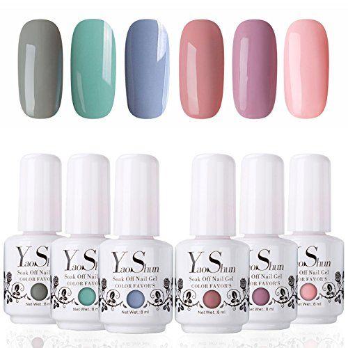 Y S Soak Off Gel Nail Polish Sets 6 Colours Glitter Uv Led Set Washable Manicure Varnish Kit 002 8ml The Beauty Icon