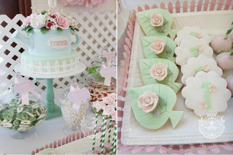 Rose Garden 1st birthday party via Kara's Party Ideas karaspartyideas.com #rose #garden #birthday #party #1st #ideas #cake #cupcakes #idea #...