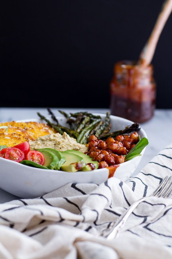 Spicy BBQ Chickpea and Crispy Polenta Bowls with Asparagus   Ranch Hummus   http://halfbakedharvest.com