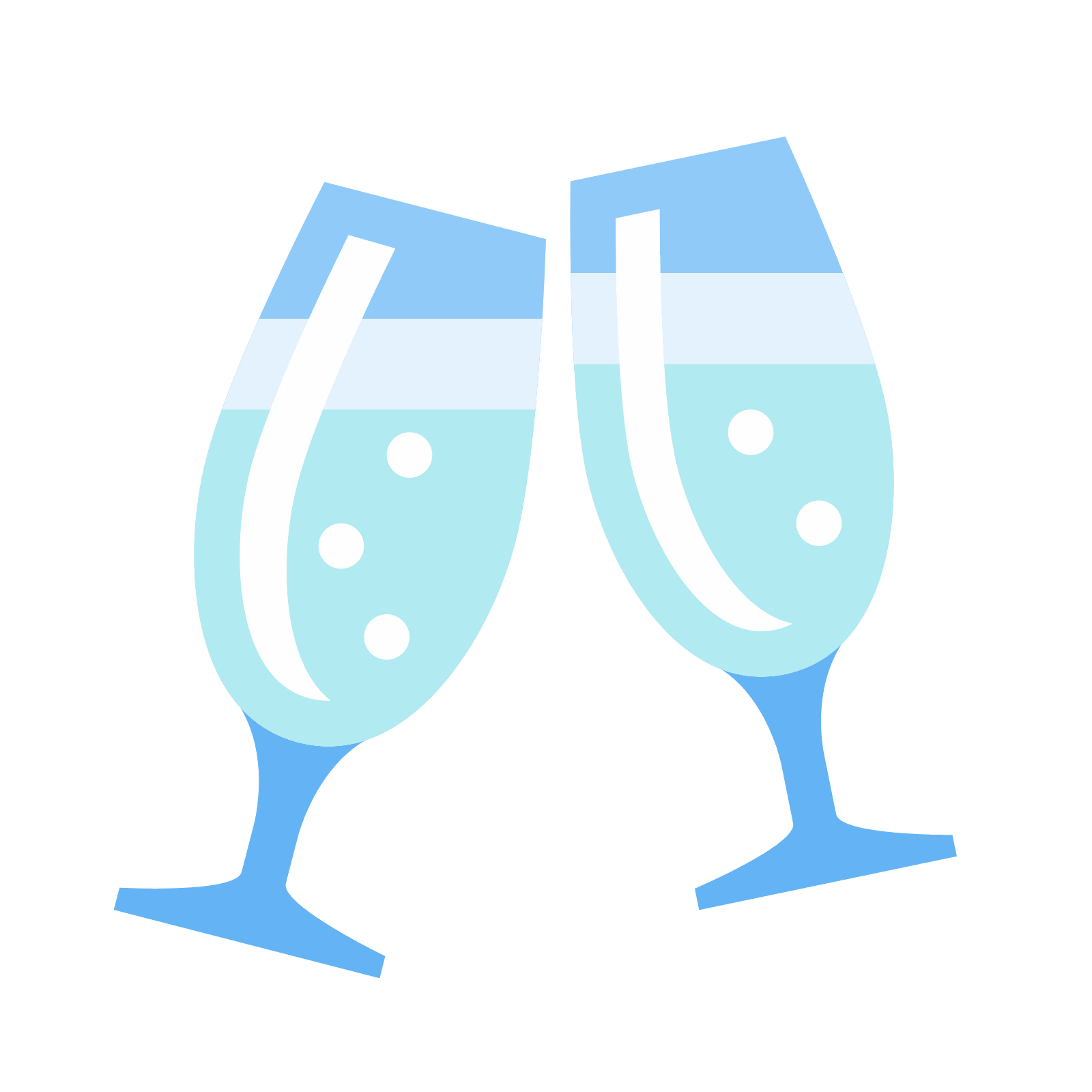 Champagne Icon There Are Two Wine Glasses That Appear To Be Half Full And There Is A Line Coming Out Of The Top To Depict Clinking Of Th Icon Champagne Vector