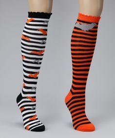 557807826 Striped knee-high Halloween socks Black White Orange Orange Black Grey