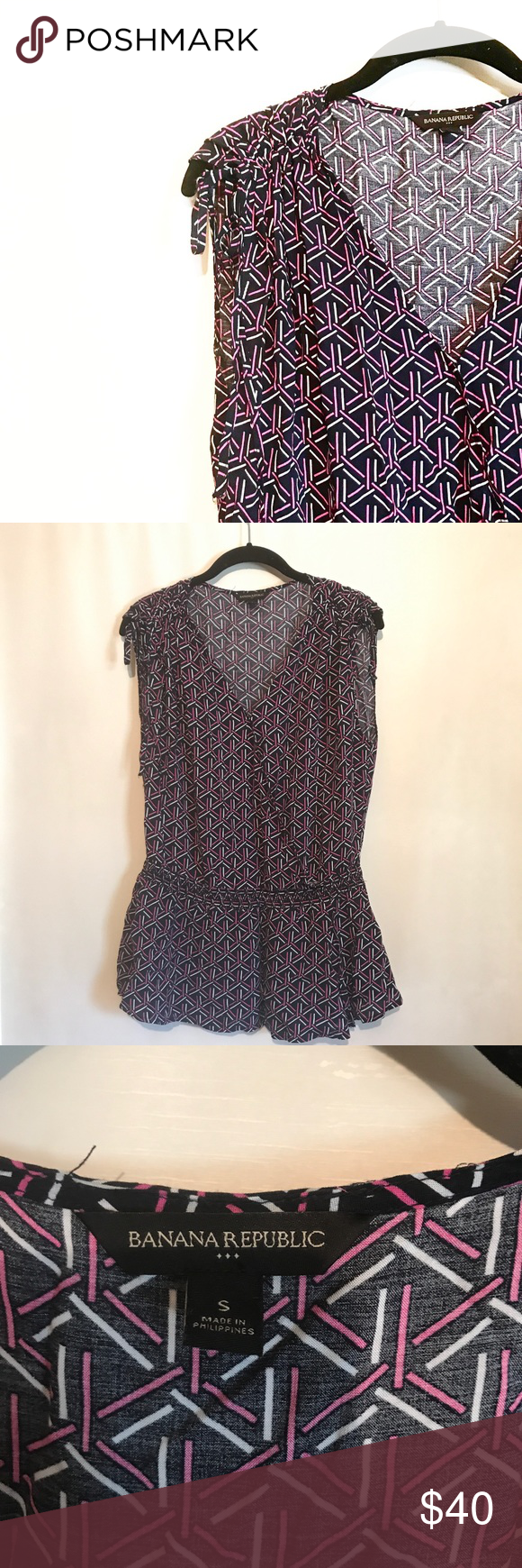 Banana Republic Printed Wrap Blouse w/ Tie Detail Like new