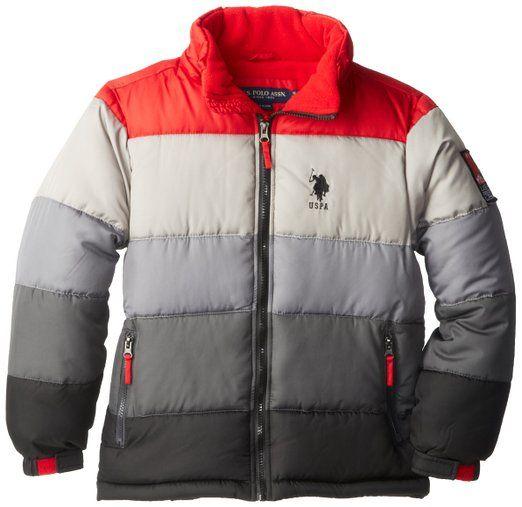 1f2ae8456 U.S. Polo Association Big Boys' Striped Bubble Jacket with ...