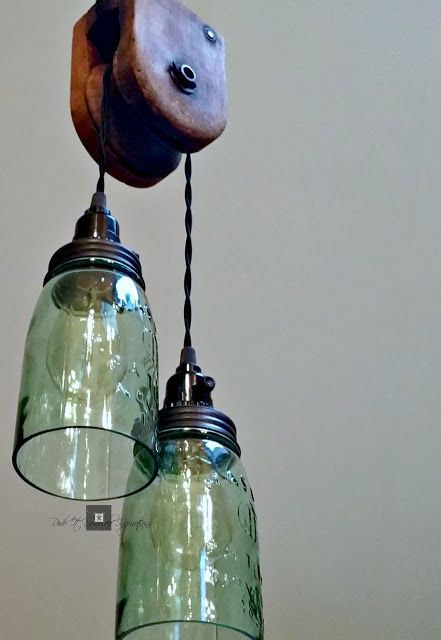 DIY Pulley Light Fixture. Easy How To Make A Pulley Light With Mason Jars!