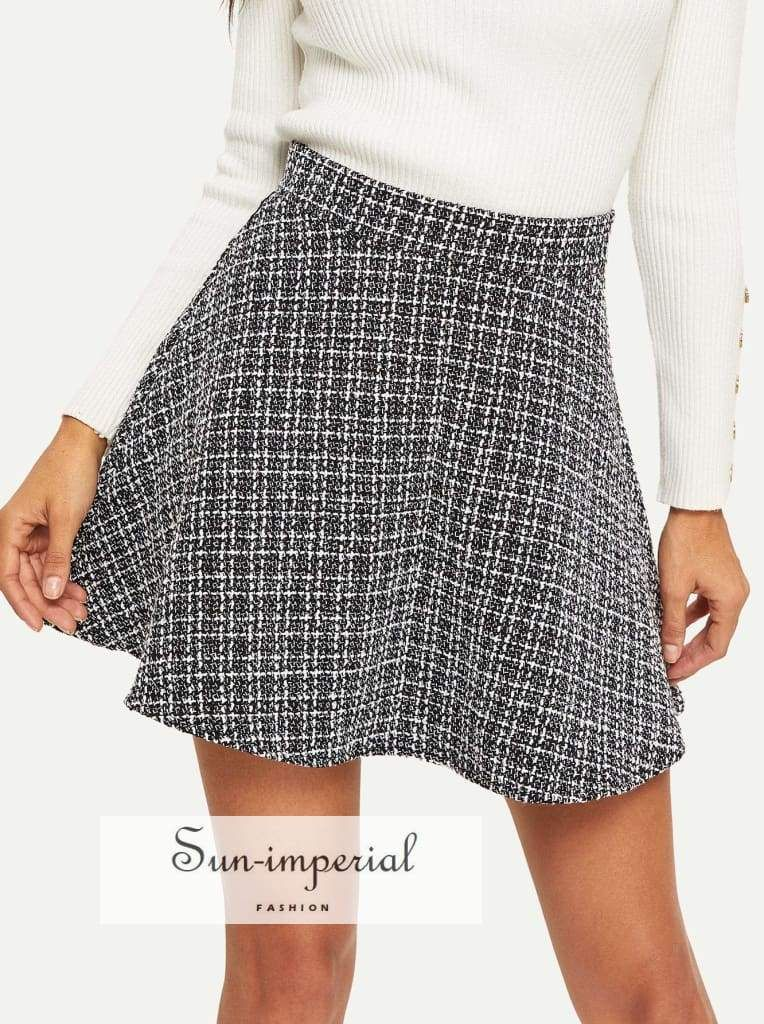 d623304047 Color: Black and White Composition: Tweed, 100% Polyester Length: Above Knee/Short  Silhouette: Flared Style: Elegant Pattern Type: Plaid Waist Size (cm): ...
