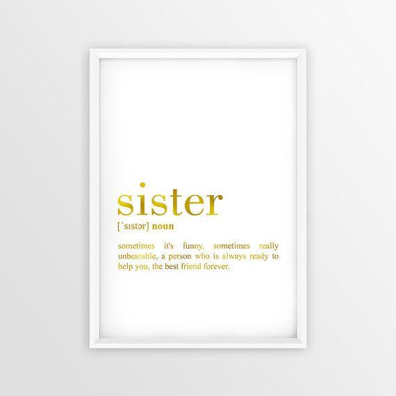 Sister Definition Print Gold Sister Wall Art by PrintablesWallArt