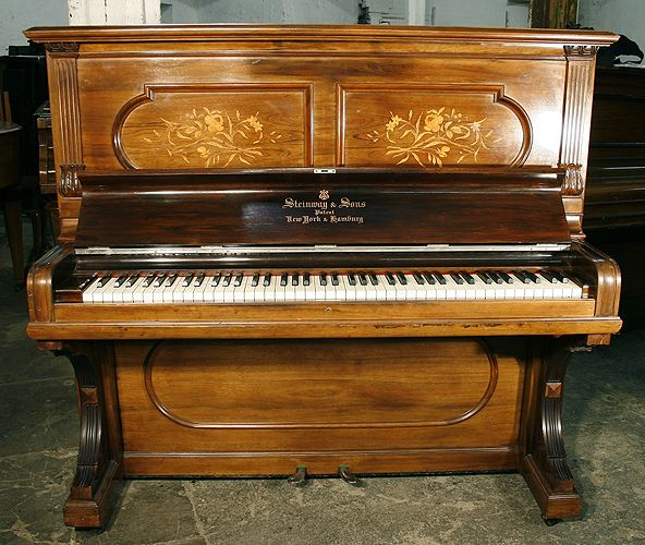 Well Loved And Used. Antiques Precise Upright Victorian Piano With Fluting And Inlaid Decoration