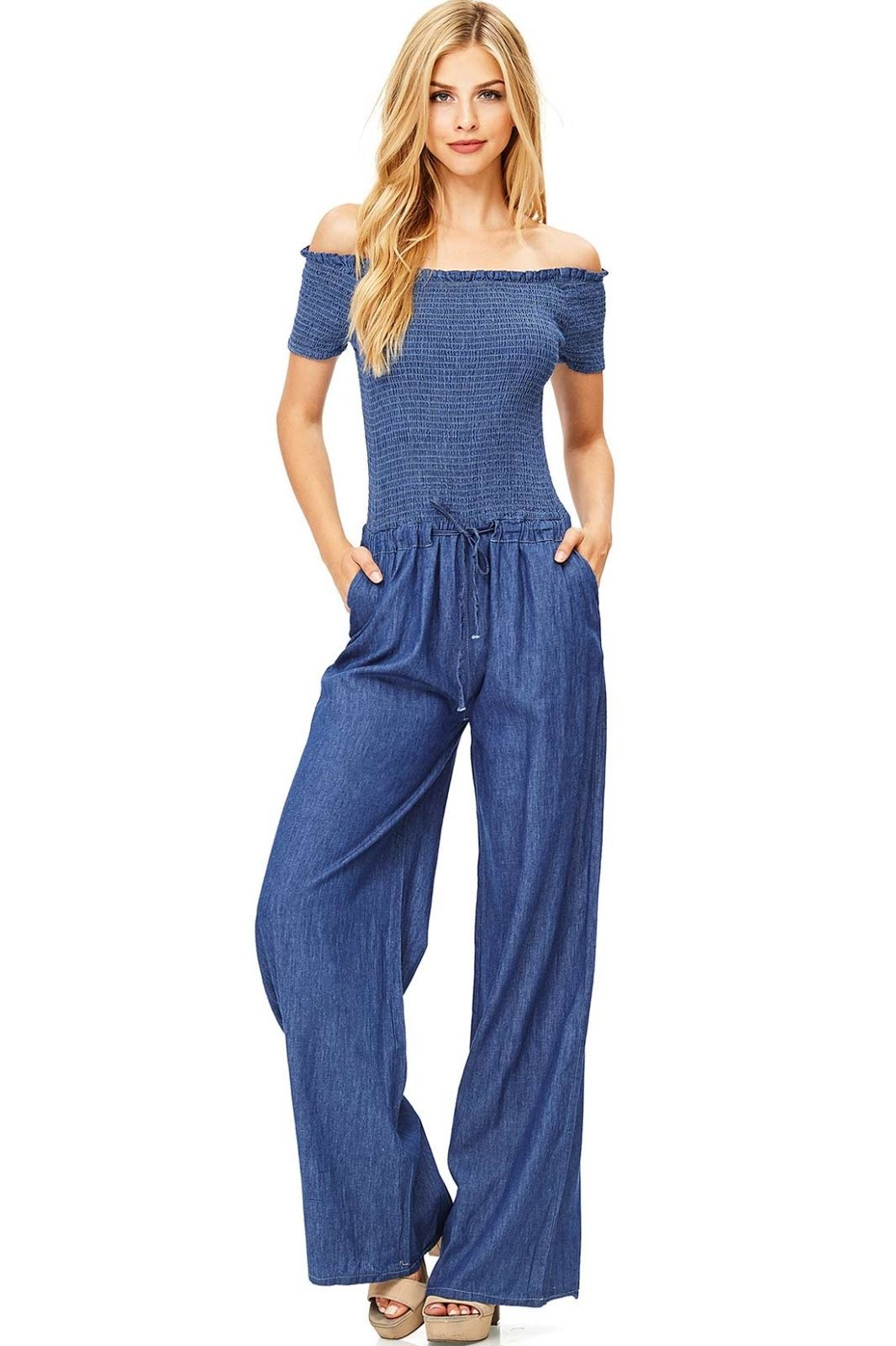 5dc690ae7ba Jumpsuits and Rompers 3009  Chambray Off The Shoulder Smocked Special  Occasion Denim Wide Leg Jumpsuit -  BUY IT NOW ONLY   39.99 on eBay!