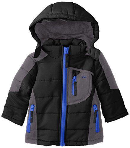 1dbd31d8e YMI Baby Boys Color Block Bubble Jacket with Detachable Hood Black ...
