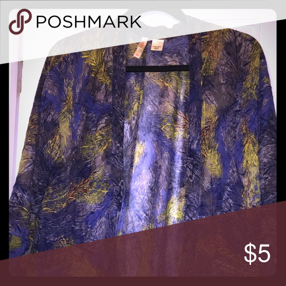 Sheer cover up or shawl Size Small shawl. This is multicolored with blue,  purple and yellow. This has been worn but is in excellent condition. Accessories Scarves & Wraps