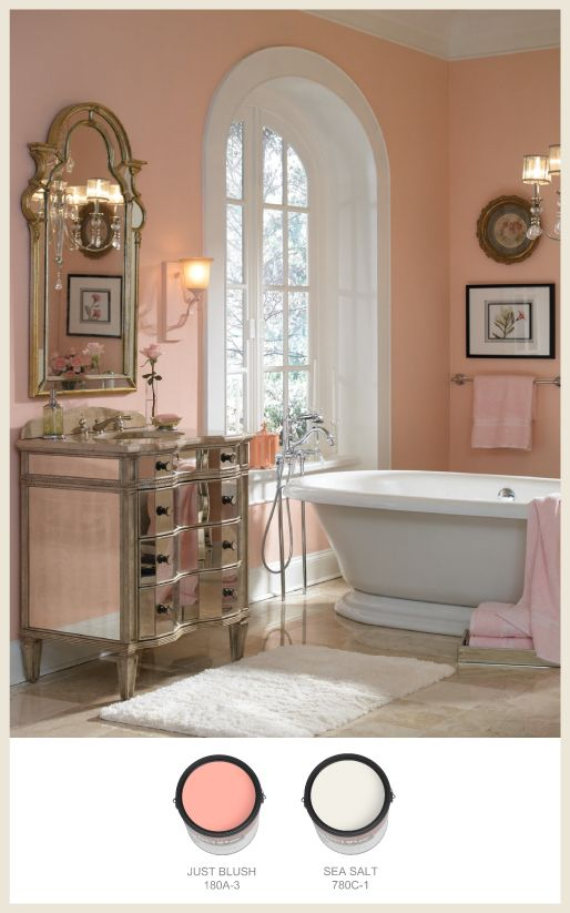 #Peach warms a #bathroom or dressing area. #Gold and reflective surfaces add a touch of elegance.