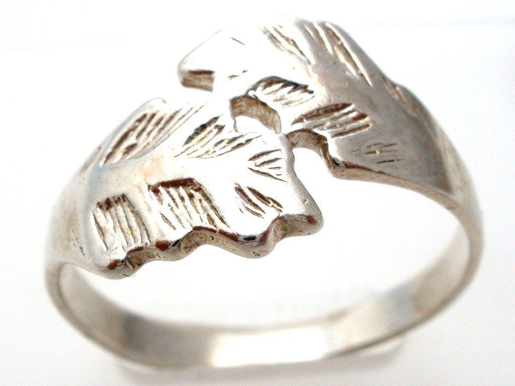 Sterling Silver Leaf Ring Size 11.5 Vintage