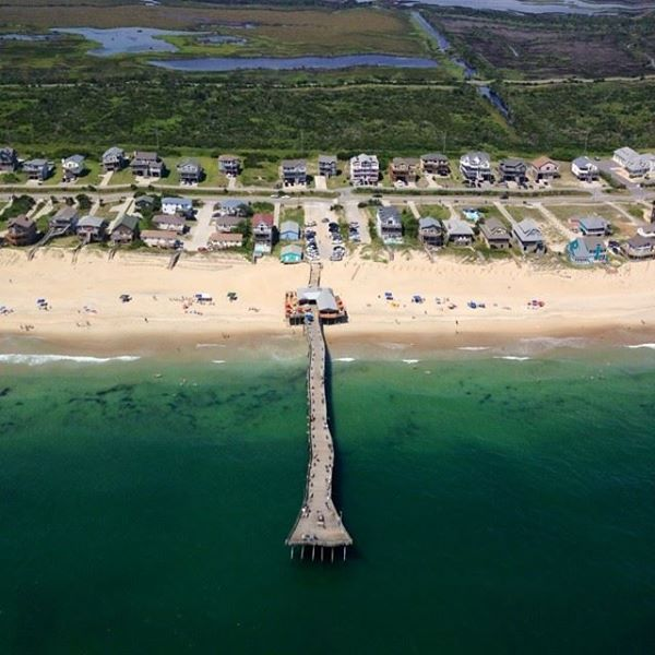 Great aerial photo of the outer banks fishing pier in for Fishing outer banks nc