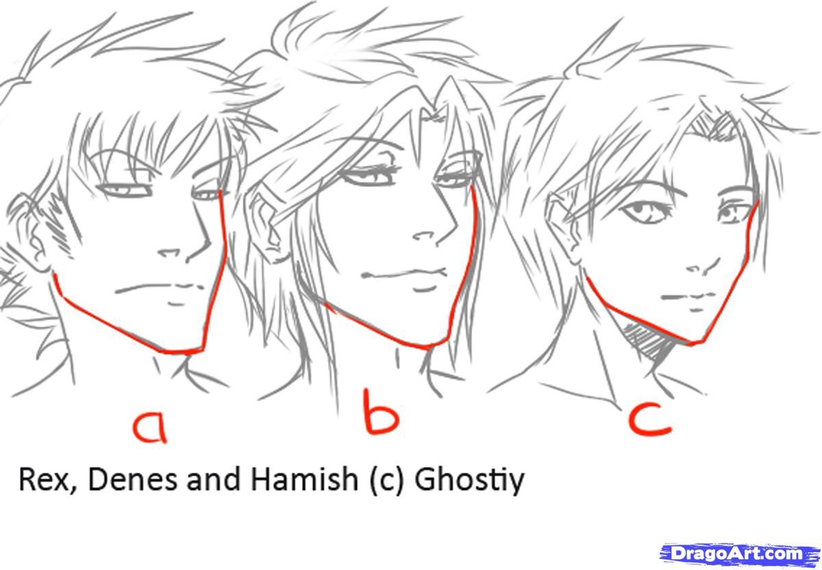 Male Manga Jaw Variations Guy Drawing Manga Drawing Anime Male Face