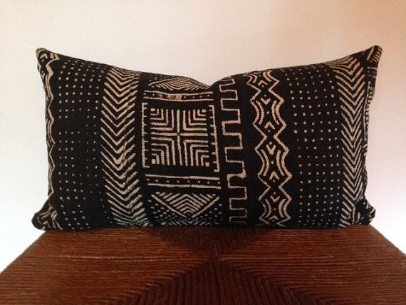 African Mudcloth Decorative Pillow Cover in by PillowLoftHomeDecor
