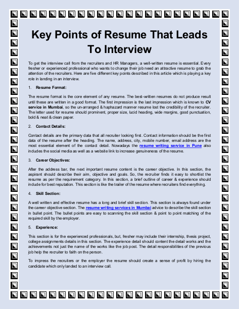 Know About The Key Points Of Resume That Leads To Interview Call On 9889101010 For Resume Professional Resume Writing Service Resume Writing Services Resume