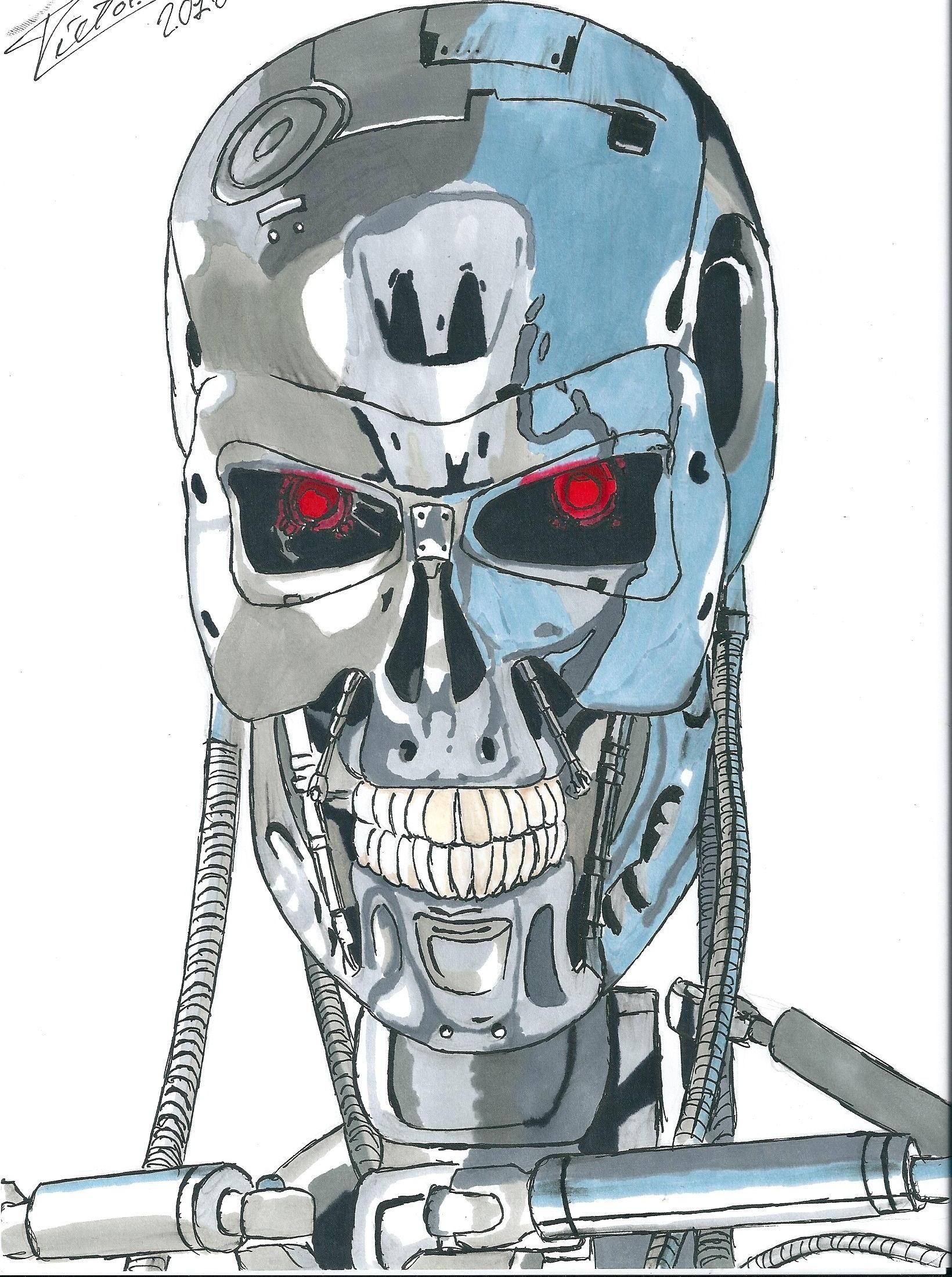 The Terminator. Formato din A4, hecho con rotuladores Letraset Promarker.