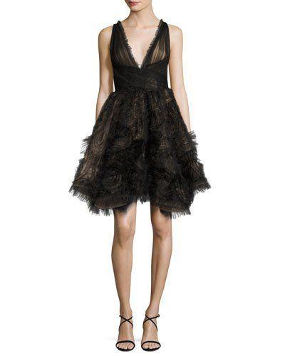 1a09c5e0a75 TQJH9 Marchesa Sleeveless Tulle Fishtail Cocktail Dress
