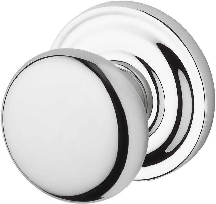 Baldwin PS.ROU.TRR Round Passage Knobset with Traditional Round Rose Polished Chrome Knobset Passage