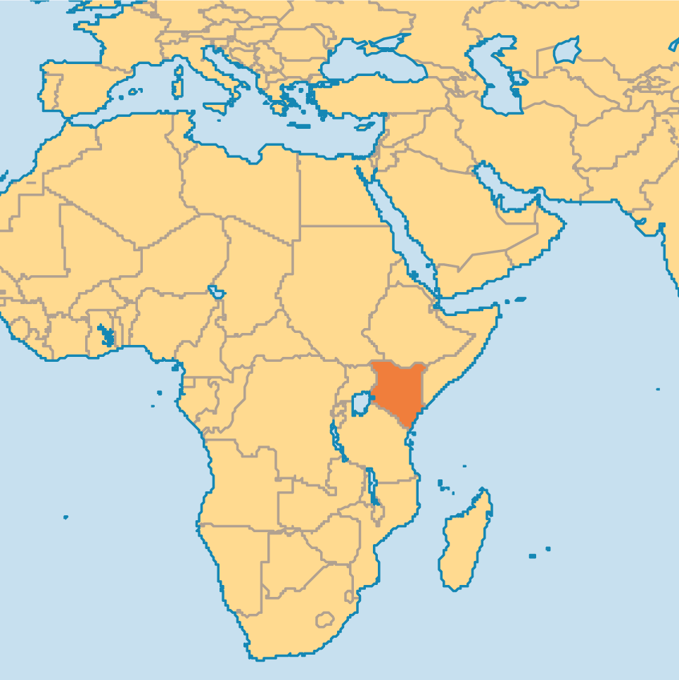 This is where Kenya is located it is in Africa and neighbors with