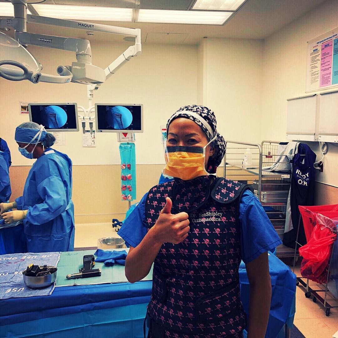 Thumbs up after a great day in the OR! For closing the