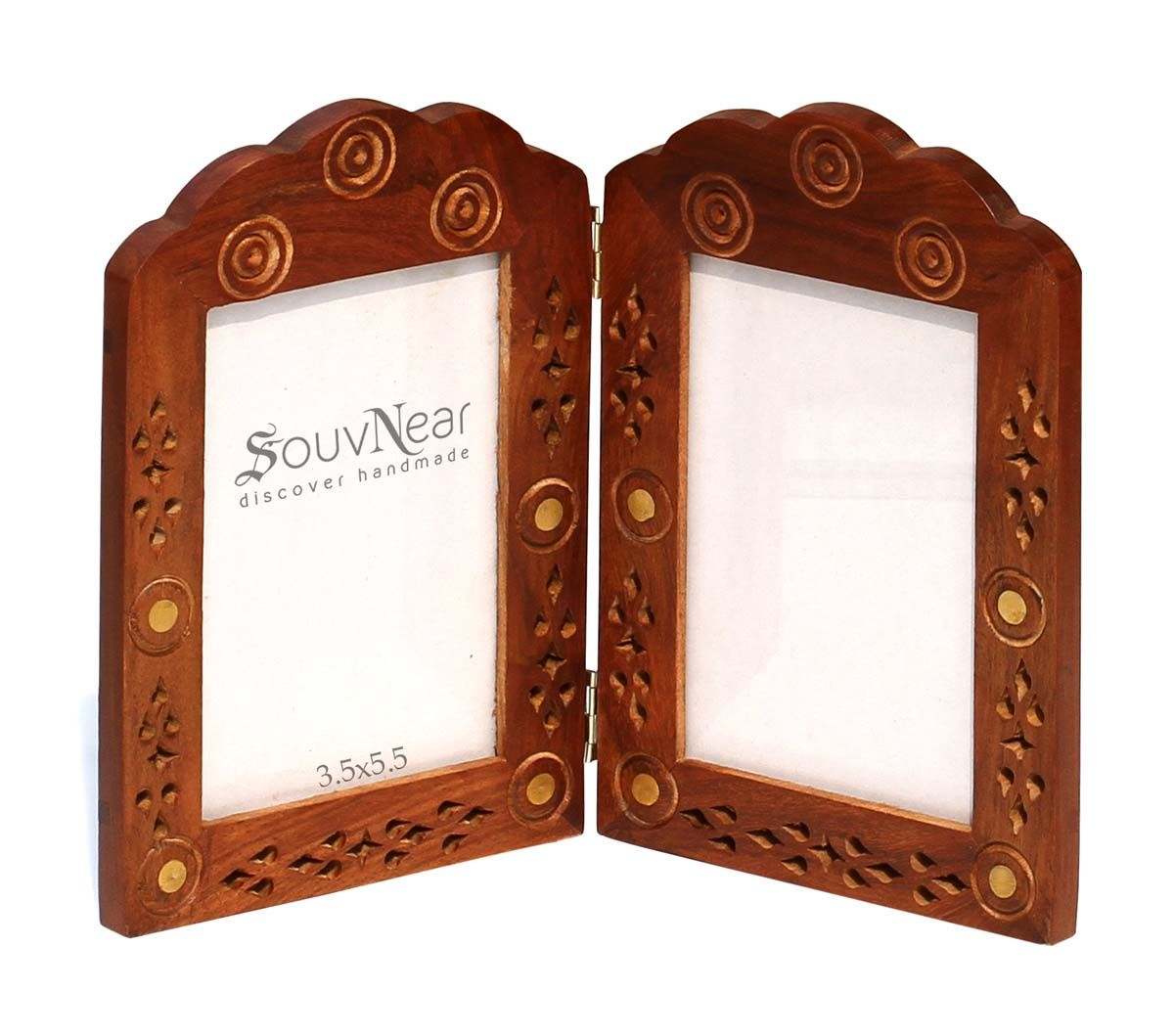 Wholesale Vertical Double Wooden Photo Frame With Hinges Vintage