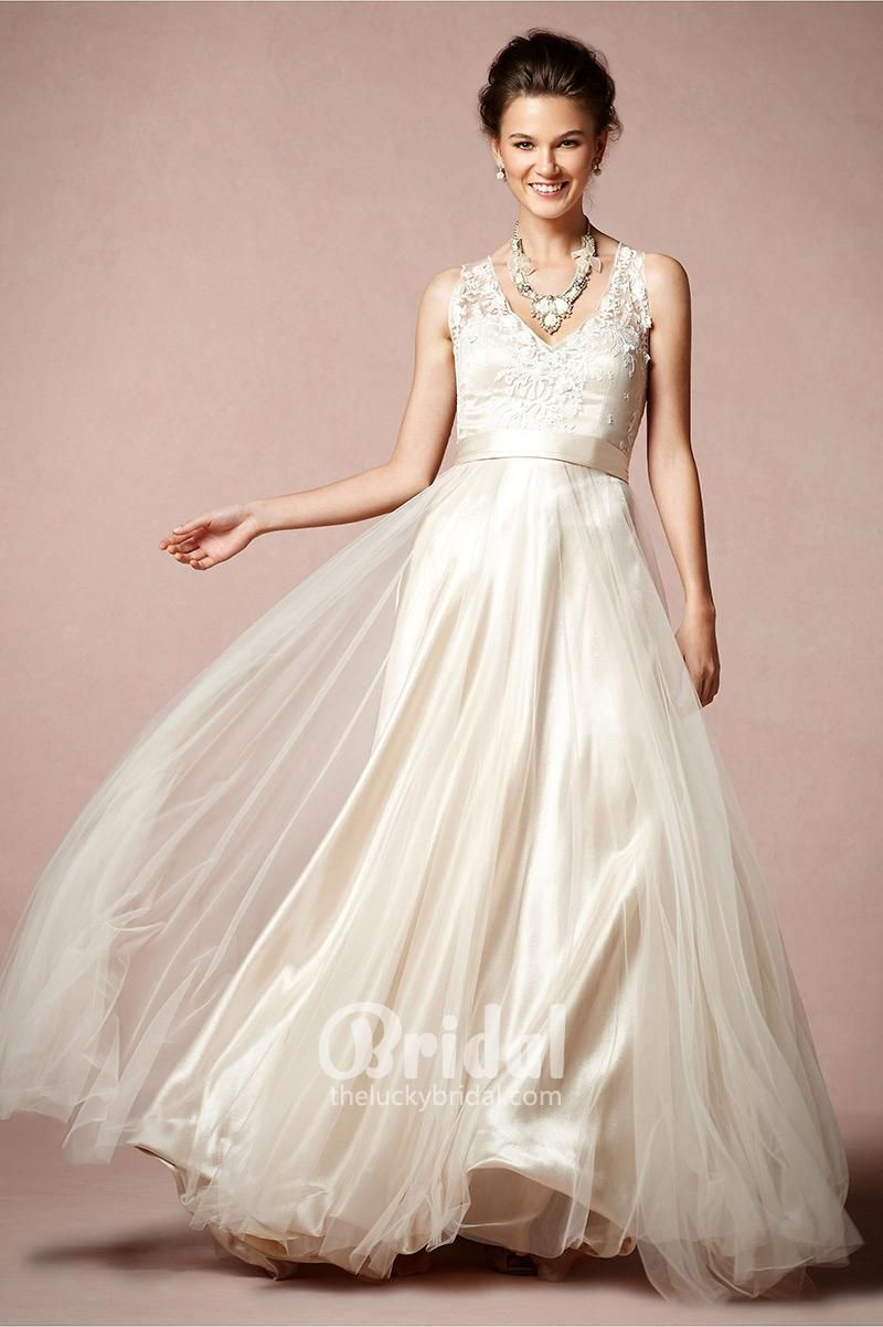 Romantic embroidered sleeveless vneck floor length aline wedding