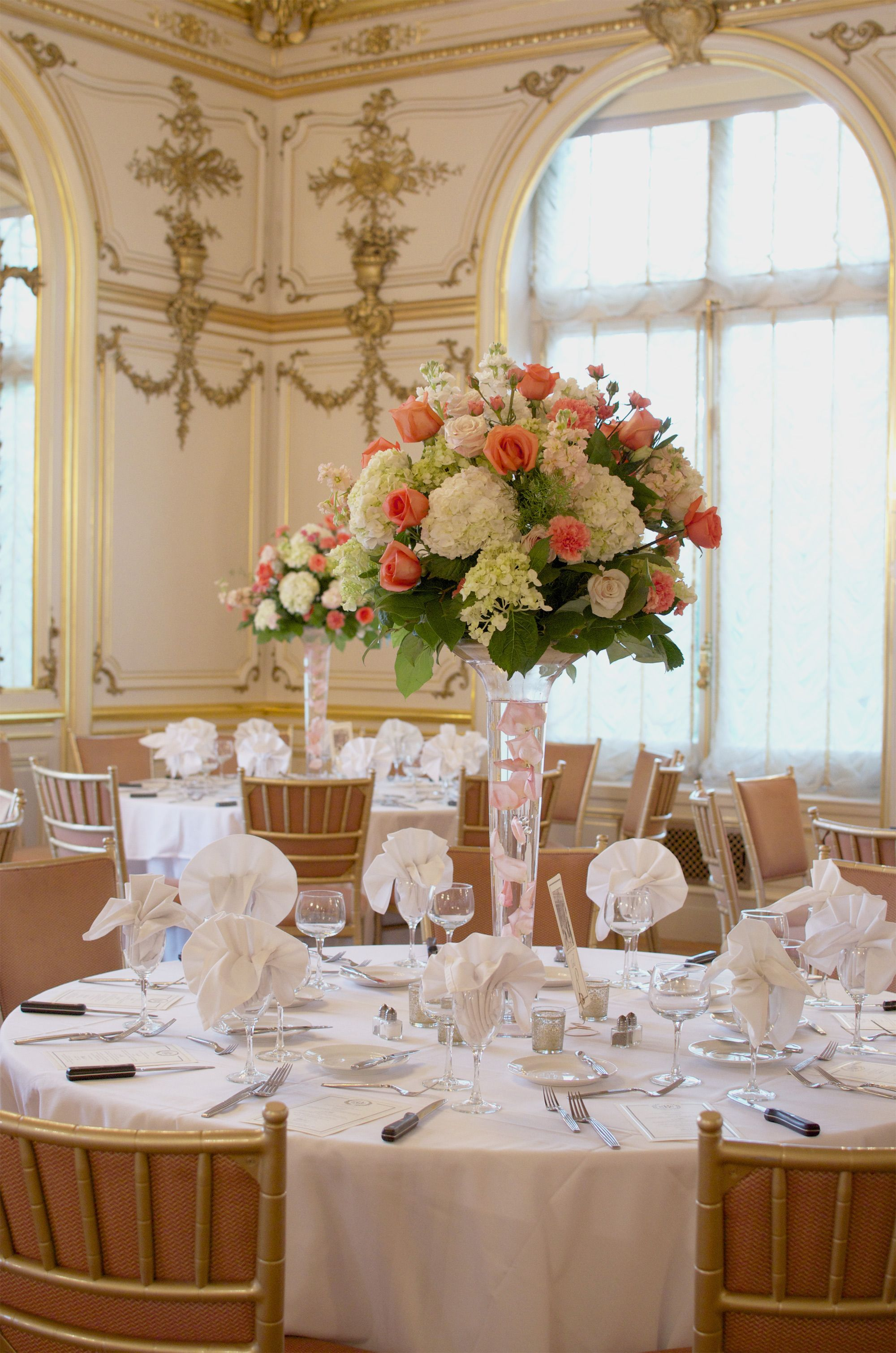 Soft Elegant And Romantic Tall Floral Centerpiece