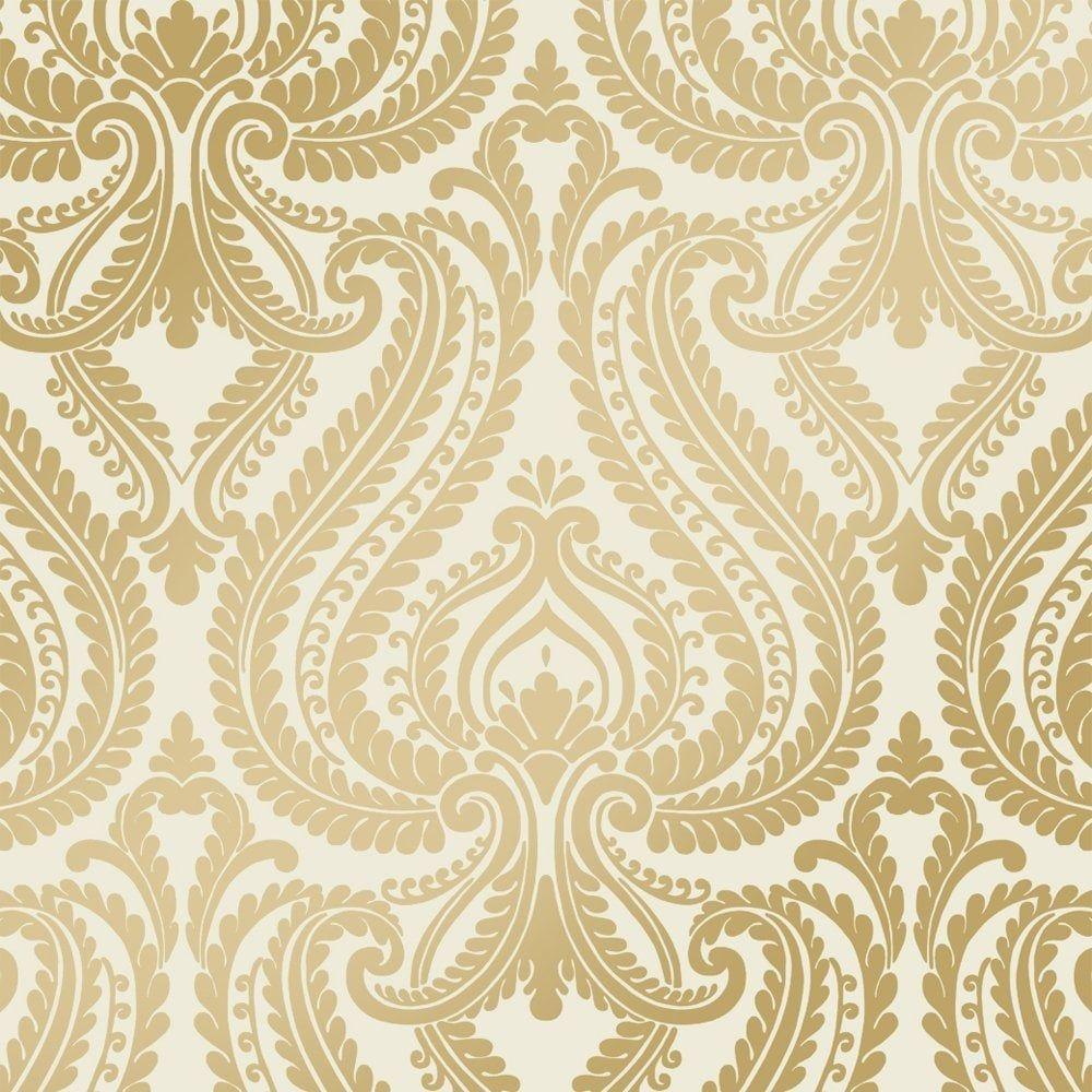 Shimmer Damask Metalic Wallpaper Cream / Gold (ILW980011