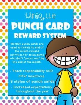 Punch Card Unique Reward System Reward System Punch Cards