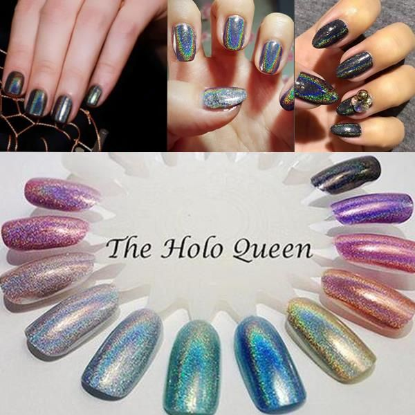 Holographic Nail Art Powder Holo Glitters Powders Pigment Aurora Laser Effect