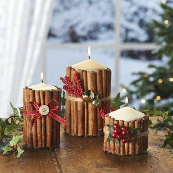 weihnachtsdekoration basteln mit kerzen und zimtstäbchen ...