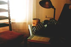 William Faulkner's Underwood Universal Portable typewriter in his office at Rowan Oak, which is now maintained by the University of Mississippi in Oxford as a museum