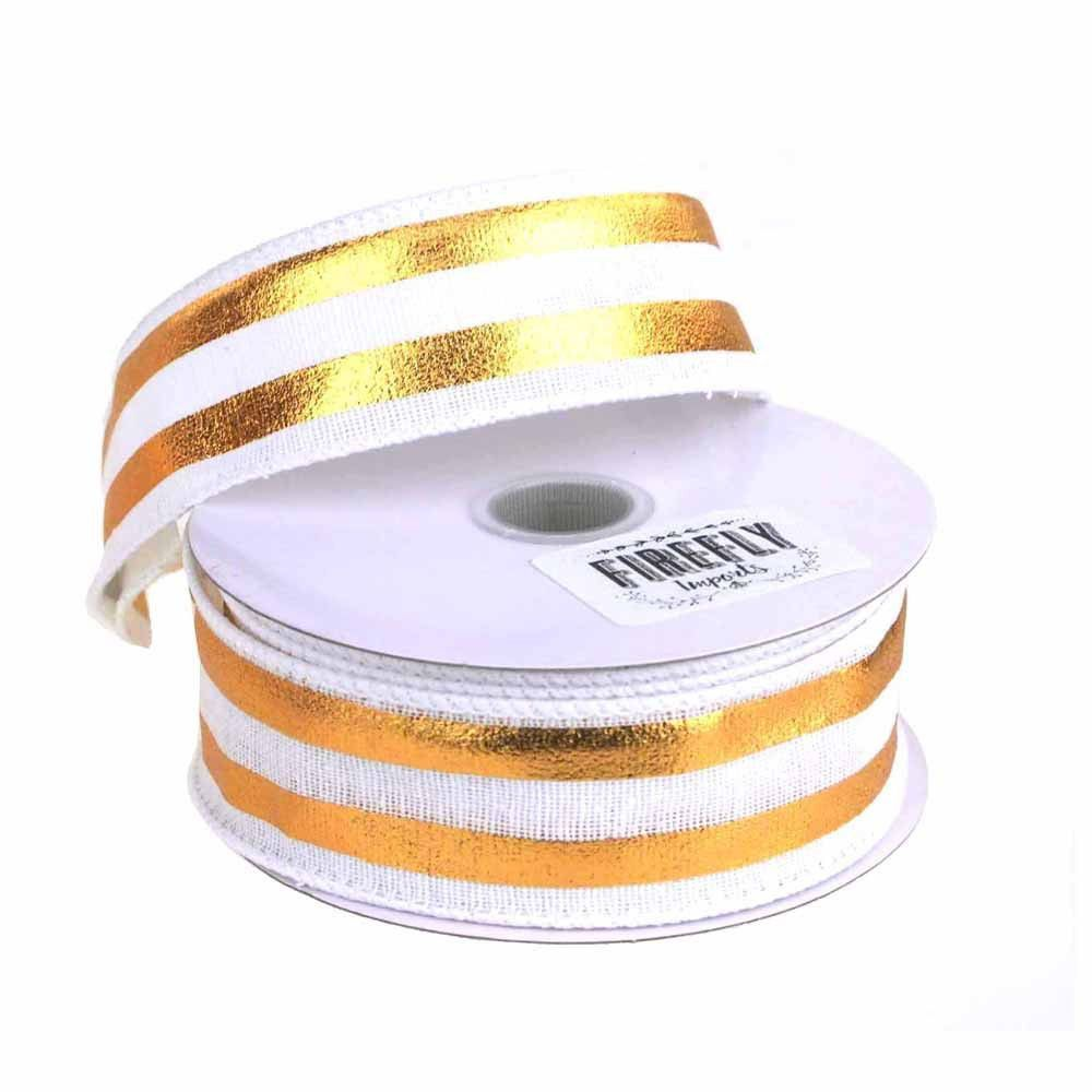 Embossed Stripes Soft Canvas Ribbon Wired Edge, 10 Yards