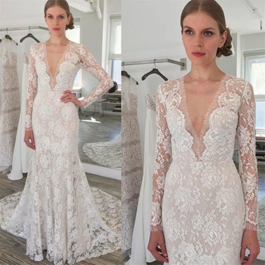 Long sleeve lace sexy white wedding dress with trailing sheath v