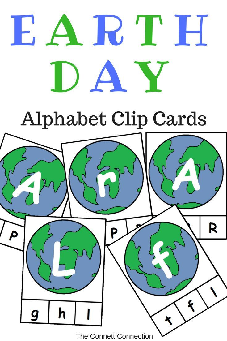 Earth Day Themed Alphabet Clip Cards | Pre-school, Activities and ...
