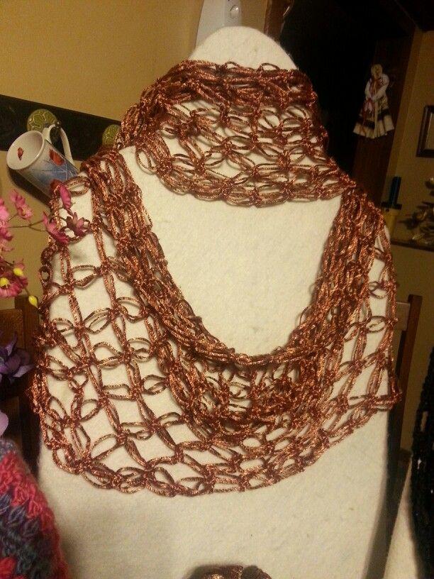Infinity Scarf with patons metallic Orange yarn   crochet ...