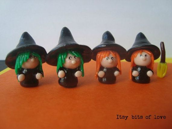 Tiny witch mini witch mini halloween decor tiny by itsybitsoflove