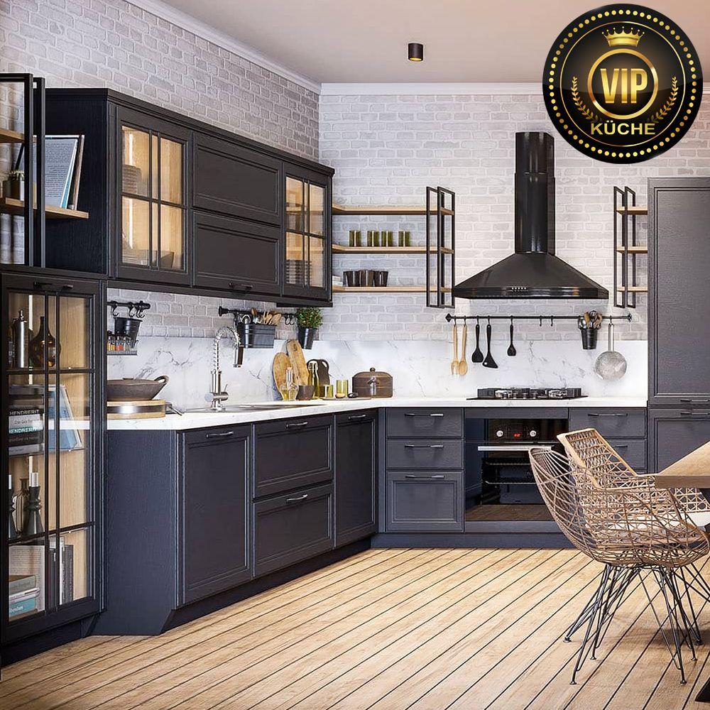 Moderne Loft Kuche Freda Massivholz Industriedesign Winkelkuche L Form Anthrazit In 2020 Kuche Landhaus Modern Haus Kuchen Massivholzkuchen